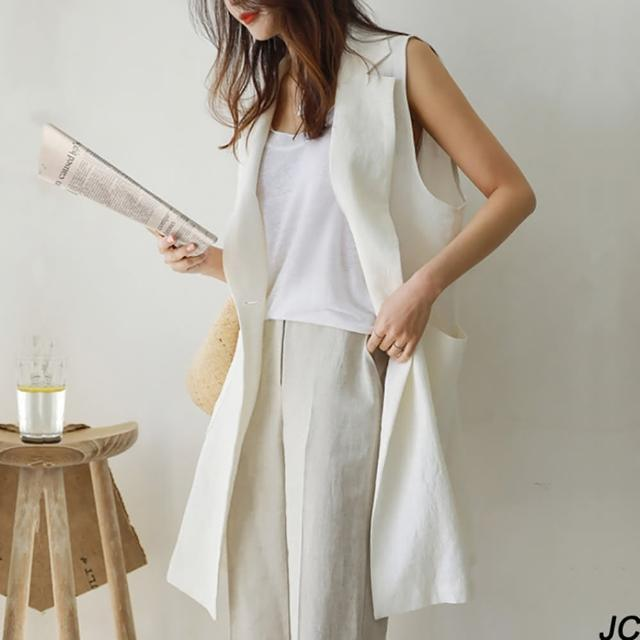 【JC Collection】韓版優質薄棉麻帥氣衣領雙口袋中長板寬鬆背心(白色、卡其色)