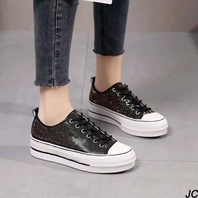 【JC Collection】真皮透氣華麗滿鑽增高厚底綁帶休閒鞋(黑色)
