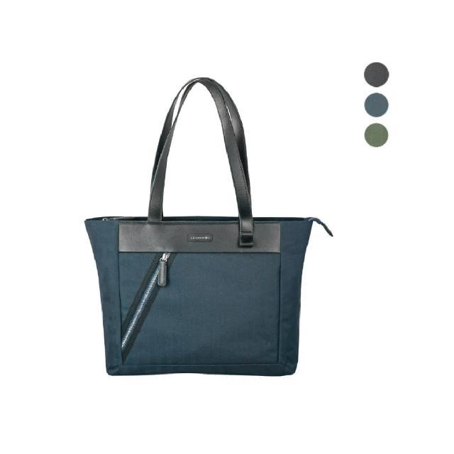 【Crocodile】鱷魚皮件 布配皮 橫式托特包 肩背包-0104-09906-原廠公司貨(Snapper 3.0系列)