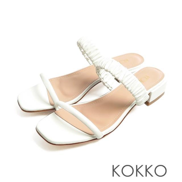 【KOKKO 集團】方頭綿羊皮雲朵皺褶一字帶粗跟涼拖鞋(白色)