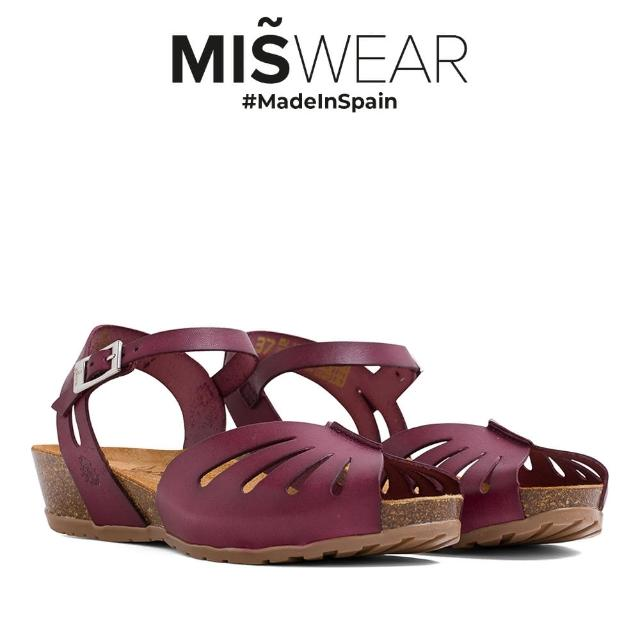 【MISWEAR】Yokono 真皮鏤空軟木涼鞋-紅