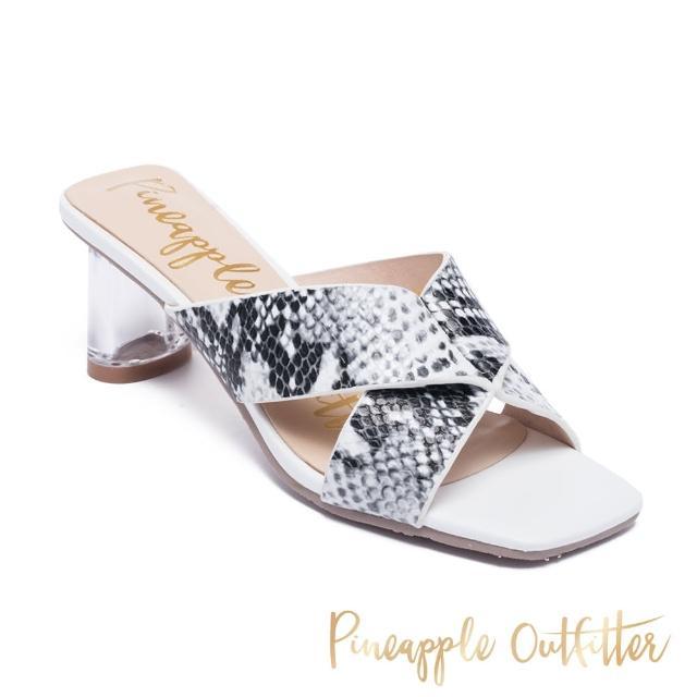 【Pineapple Outfitter】REIKA 真皮交叉條紋寬帶透明中跟涼鞋(蛇皮白)