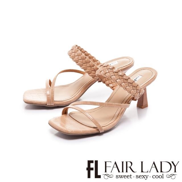 【FAIR LADY】初夏 方頭質感編織小貓跟涼拖鞋(裸粉、202399)