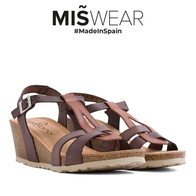 【MISWEAR】Yokono 真皮多色T字楔型涼鞋-棕色