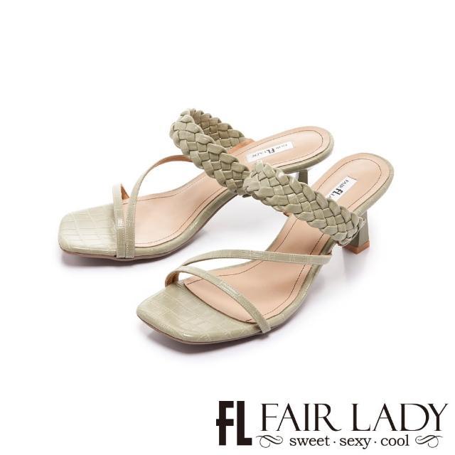 【FAIR LADY】初夏 方頭質感編織小貓跟涼拖鞋(草綠、202399)
