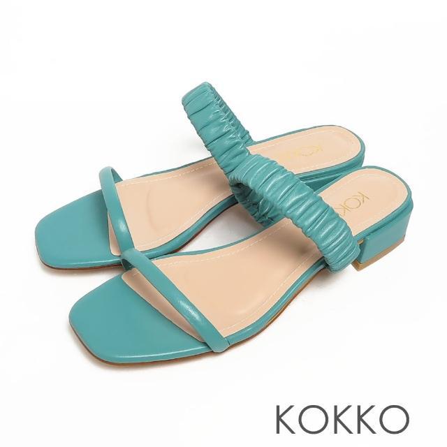 【KOKKO 集團】方頭綿羊皮雲朵皺褶一字帶粗跟涼拖鞋(藍綠色)