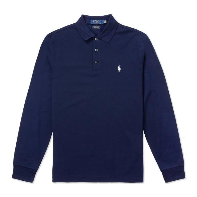 【RALPH LAUREN】Polo Ralph Lauren 經典刺繡小馬長袖Polo衫-Custom Slim-深藍色