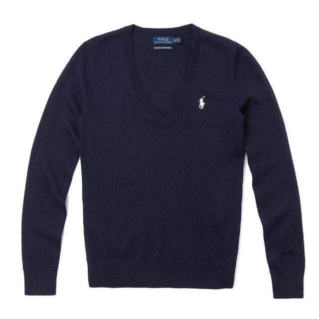 【RALPH LAUREN】Polo Ralph Lauren 經典V領刺繡小馬棉質針織毛衣-女-深藍色