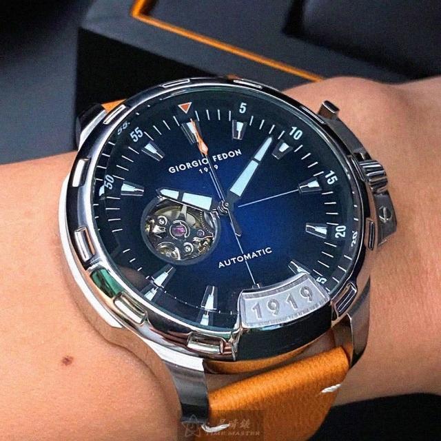 【GIORGIO FEDON 1919】喬治飛登1919男錶型號GF00001(寶藍色錶面銀錶殼咖啡色真皮皮革錶帶款)