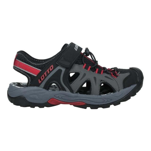 【LOTTO】男冒險家護趾排水涼鞋-休閒 魔鬼氈 健走鞋 水陸鞋 反光 黑灰紅(LT1AMS3230)