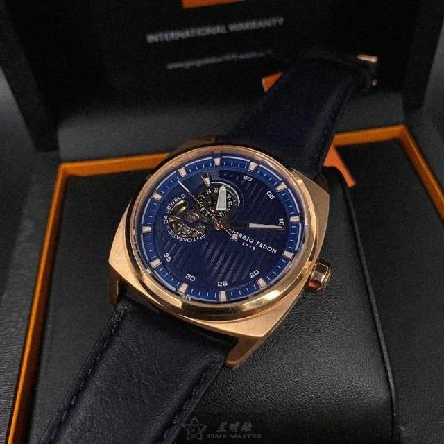 【GIORGIO FEDON 1919】喬治飛登1919男錶型號GF00009(寶藍色錶面玫瑰金錶殼寶藍真皮皮革錶帶款)