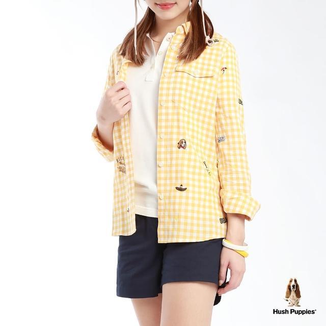 【Hush Puppies】女裝滿版刺繡圖騰格紋長袖襯衫(黃/白格紋 /13212103)