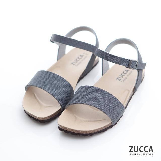 【ZUCCA&bellwink】質感皮革扣環素帶涼鞋z7007be-藍色