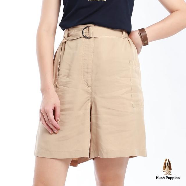 【Hush Puppies】女裝天絲棉後鬆緊腰寬版短褲-附D型環腰帶(卡其 / 13222102)