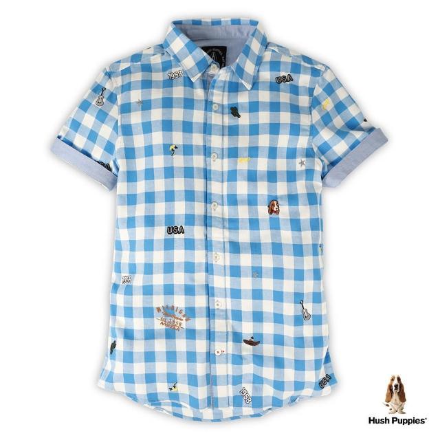 【Hush Puppies】男裝滿版刺繡圖騰短袖格紋襯衫(藍/白格紋 /13112108)