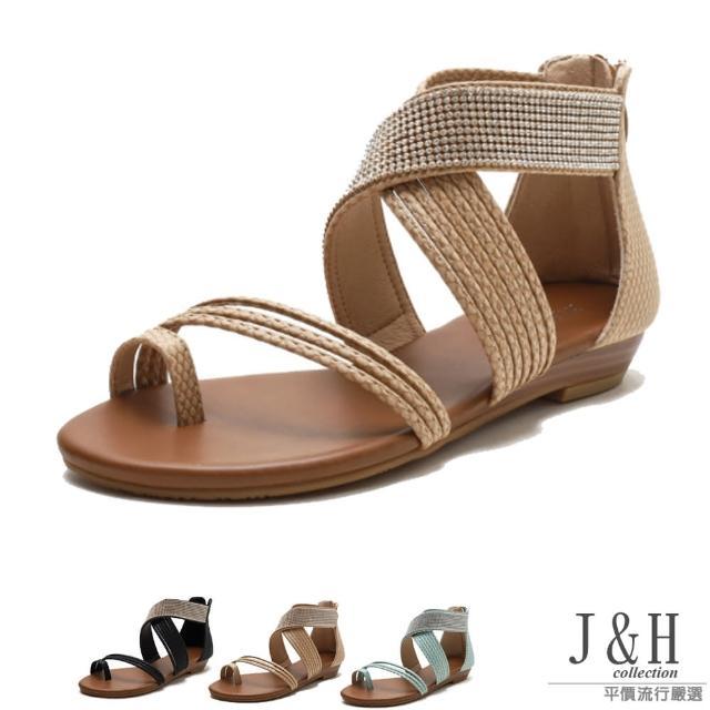 【J&H collection】時尚百搭裝飾水鑽交叉帶羅馬涼鞋(現+預 黑色 / 杏色 / 湖綠色)