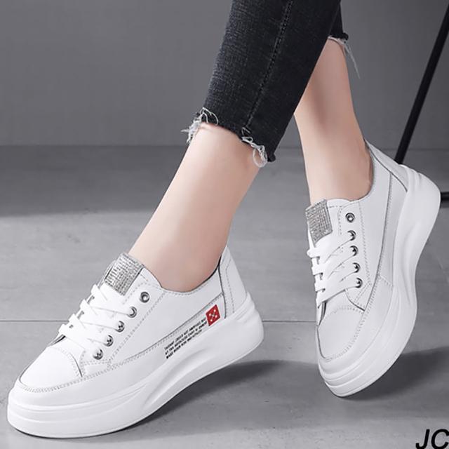 【JC Collection】牛皮透氣水鑽裝飾增高顯瘦綁帶鬆糕厚底鞋(白色)