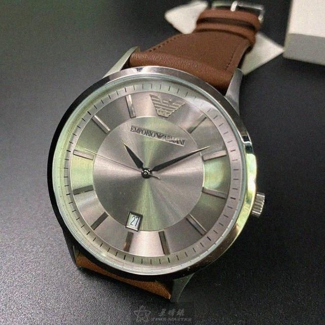 【EMPORIO ARMANI】ARMANI阿曼尼男女通用錶型號AR00005(銀色錶面銀錶殼咖啡色真皮皮革錶帶款)