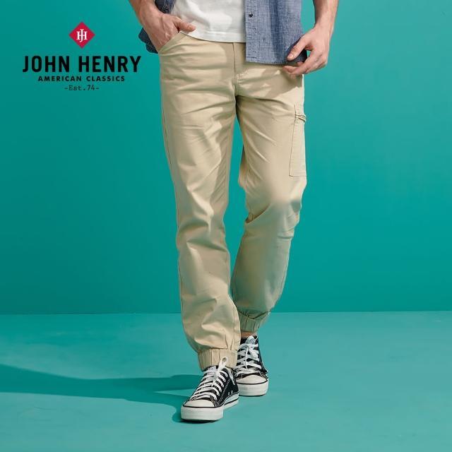 【JOHN HENRY】口袋束口鬆緊休閒長褲-卡其