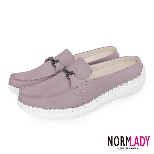 【Normady 諾曼地】女鞋 避震 氣墊 穆勒鞋 簡約馬銜釦全真皮磁石內增高氣墊球囊穆勒鞋-MIT手工鞋(藕芋粉)