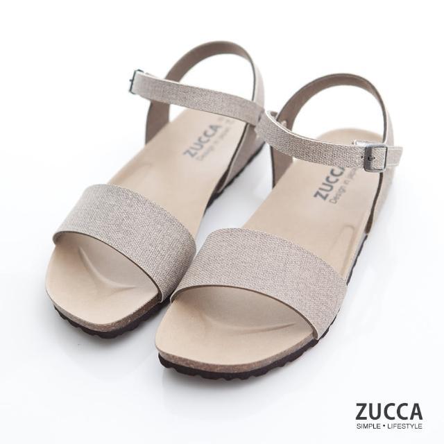 【ZUCCA&bellwink】質感皮革扣環素帶涼鞋z7007lc-駝色