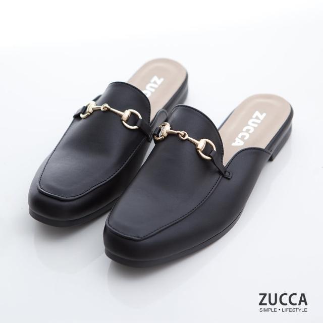【ZUCCA&bellwink】雙金屬穿環平底拖鞋z7006bk-黑色