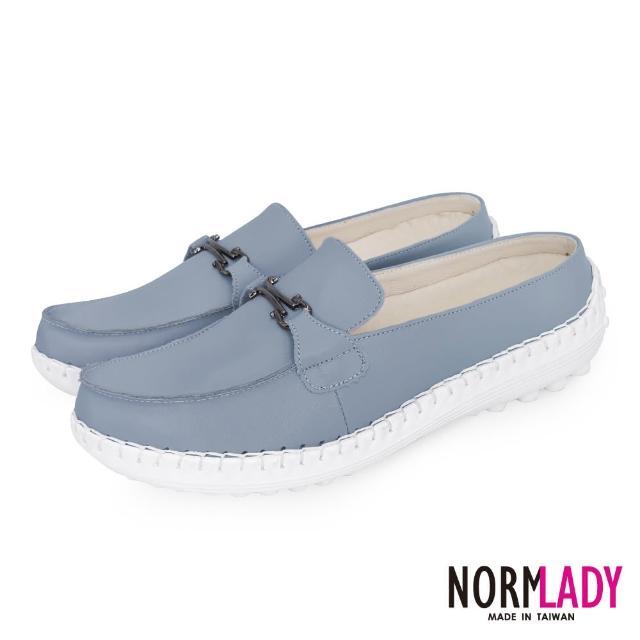 【Normady 諾曼地】女鞋 避震 氣墊 穆勒鞋 簡約馬銜釦全真皮磁石內增高氣墊球囊穆勒鞋-MIT手工鞋(天灰藍)