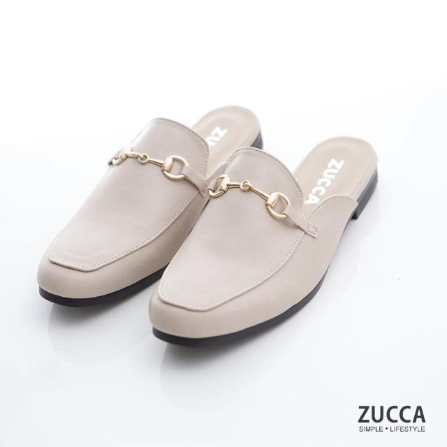 【ZUCCA&bellwink】雙金屬穿環平底拖鞋z7006we-白色