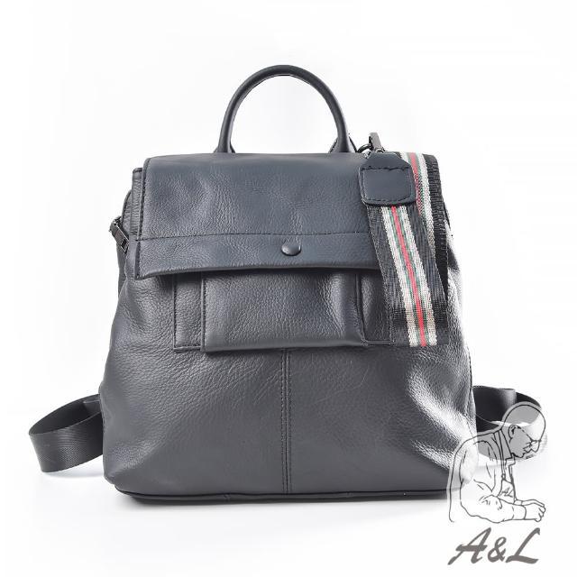 【A&L 老工匠】進口牛皮時尚多層次Silvia後背包(時尚黑)