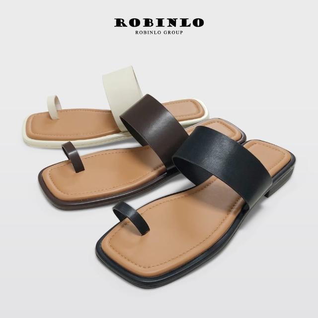 【Robinlo】寬版一字帶套趾平底涼拖鞋ANSTIS(米白/黑/咖啡色)