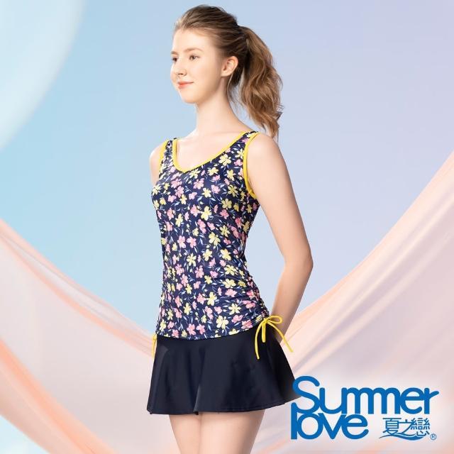 【Summer Love 夏之戀】泳衣 大女長版褲連裙二件式(S21726)
