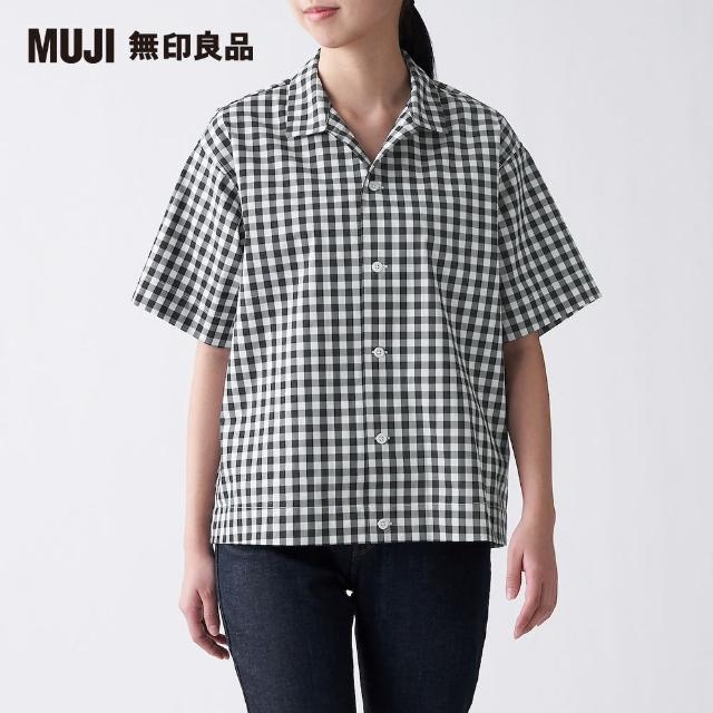 【MUJI 無印良品】女棉混彈性開領短袖襯衫(共4色)