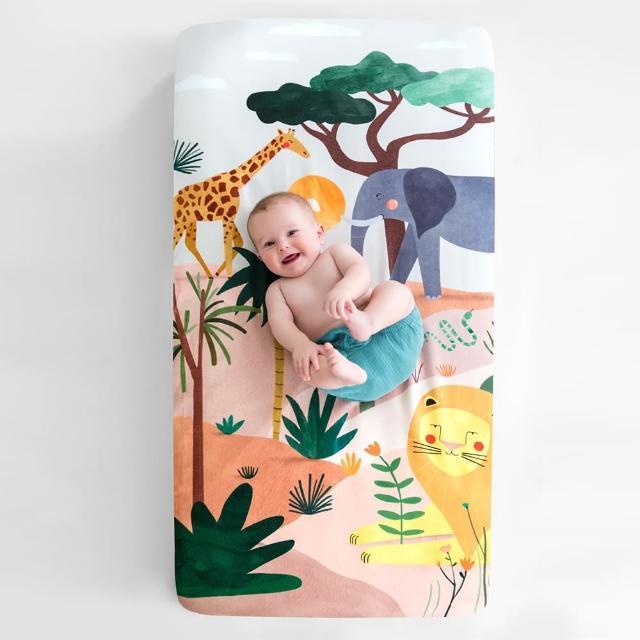 【美國RookieHumans】嬰兒床純棉絲柔床包(野生動物園)