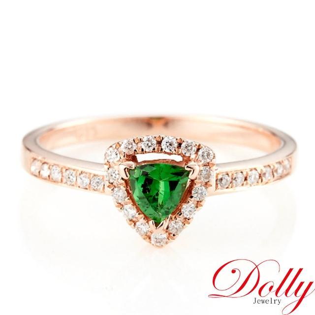 【DOLLY】無燒沙佛萊石 14K玫瑰金鑽戒(002)
