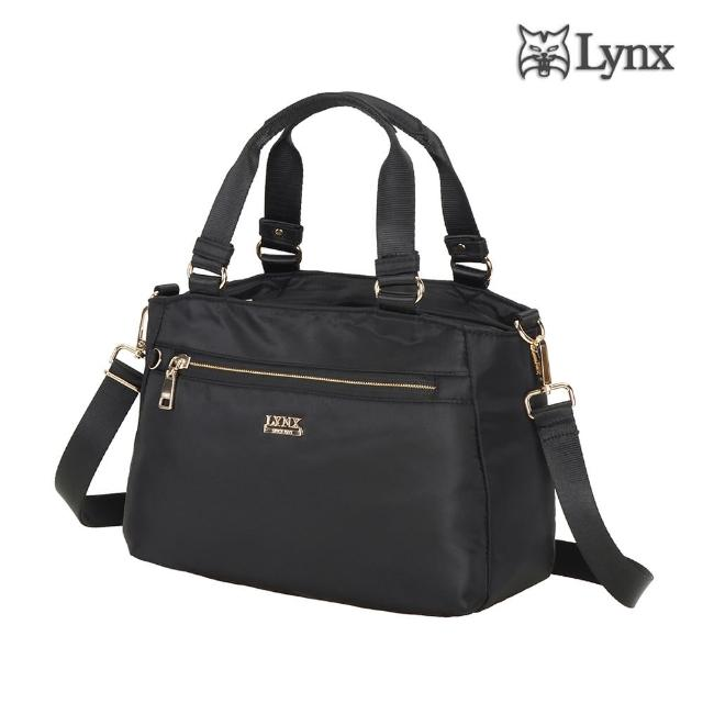 【Lynx】2way多夾層手提、斜背兩用女包-黑色(輕巧實用、防潑水、防盜刷)