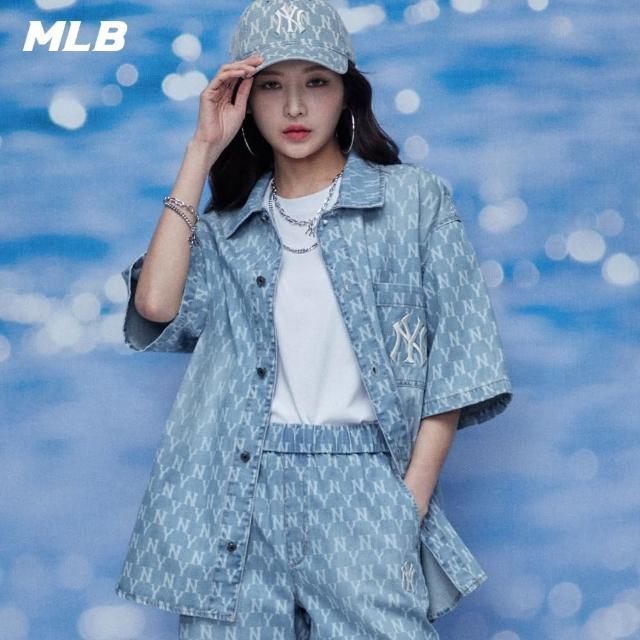 【MLB】牛仔襯衫 丹寧老花系列 Monogram 紐約洋基隊(31WSN6131-50U)