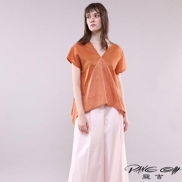 【PANGCHI 龐吉】V領造型雙布料麻質上衣(2113035-85)