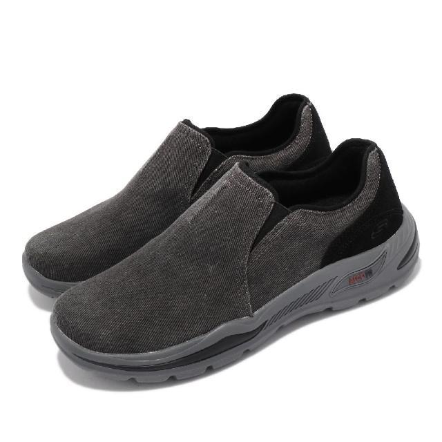 【SKECHERS】休閒鞋 Arch Fit Motley 襪套式 男鞋 專利鞋墊 避震 緩衝 耐磨 止滑 外出 黑 灰(204183BLK)