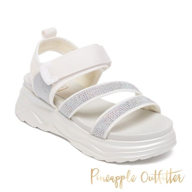 【Pineapple Outfitter】LOANNIS 亮鑽魔鬼氈厚底涼鞋(白色)