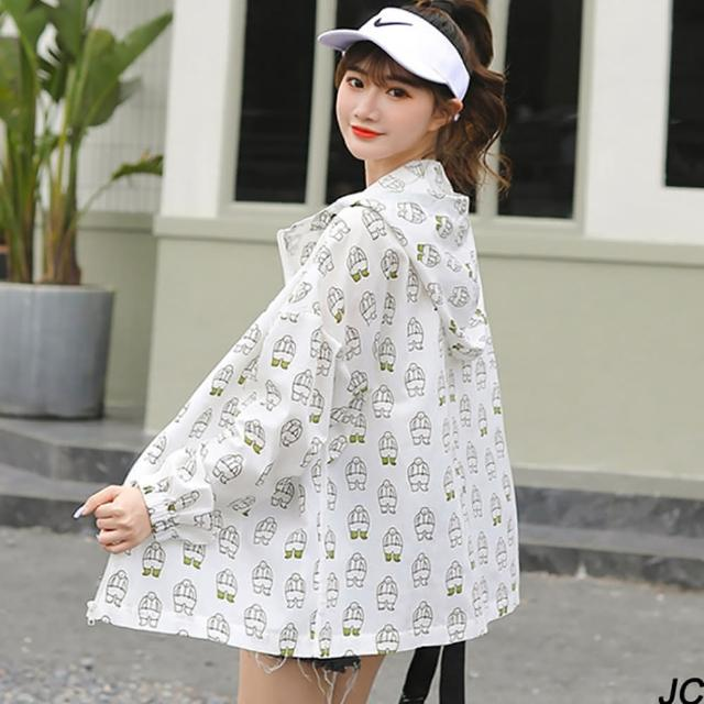 【JC Collection】清涼棉質透氣連帽印花卡通彈力鬆緊衣袖寬鬆遮陽薄外套(白色)