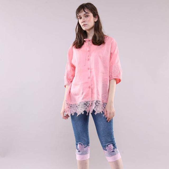 【PANGCHI 龐吉】花卉蕾絲綁帶上衣(2113058/43)