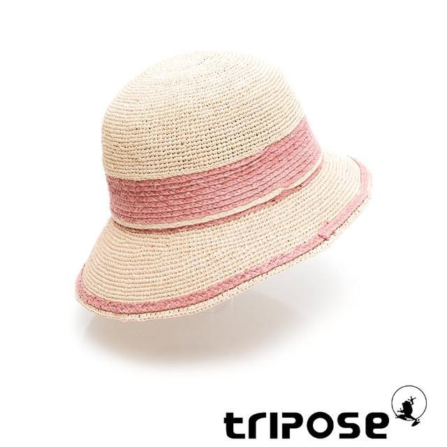 【tripose】GEMMA手工Raffia不對稱拉菲草帽 帽簷8cm(自然色x粉)