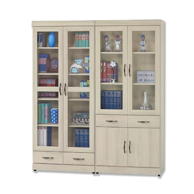 【BODEN】里多5.3尺六門四抽書櫃組合/展示收納櫃/置物櫃(玻璃門)