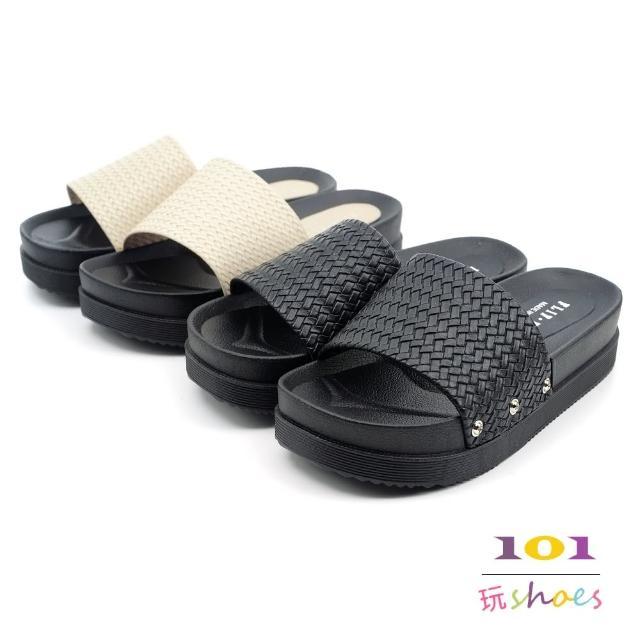 【101 玩Shoes】mit.防水編織感寬一字厚底拖鞋室內外兩穿(黑/米.36-40碼)