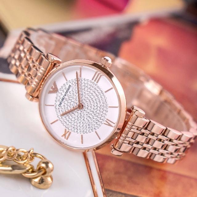 【EMPORIO ARMANI】亞曼尼 公司貨 Gianni T-bar 璀璨輕時尚不鏽鋼腕錶/玫瑰金x白面(AR11244)