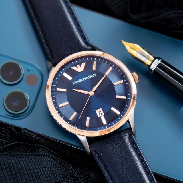 【EMPORIO ARMANI】亞曼尼 公司貨 Renato 質感型男時尚皮革腕錶/藍x玫瑰金框(AR11188)