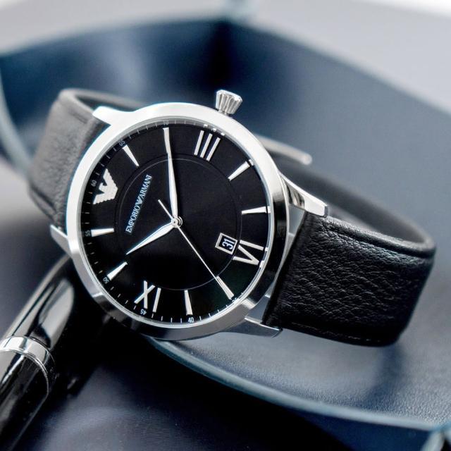 【EMPORIO ARMANI】亞曼尼 公司貨 Giovanni 羅馬紳士簡約皮革腕錶/黑x銀框(AR11210)