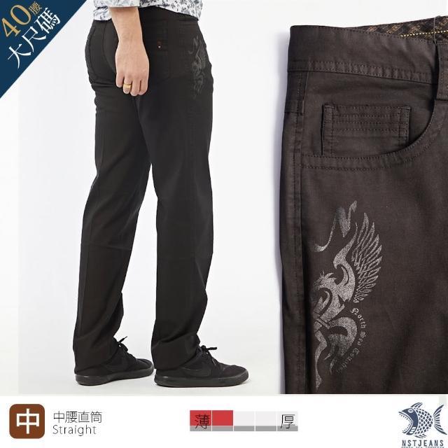 【NST JEANS】大尺碼 暗夜飛龍 燙銀 彈性休閒男褲-中腰直筒(397-66702)