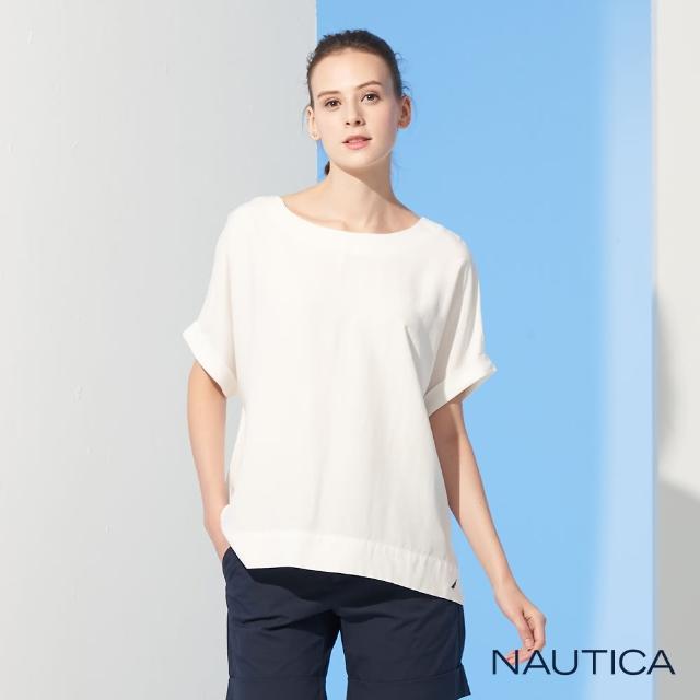 【NAUTICA】女裝圓領露背綁帶短袖上衣(白)