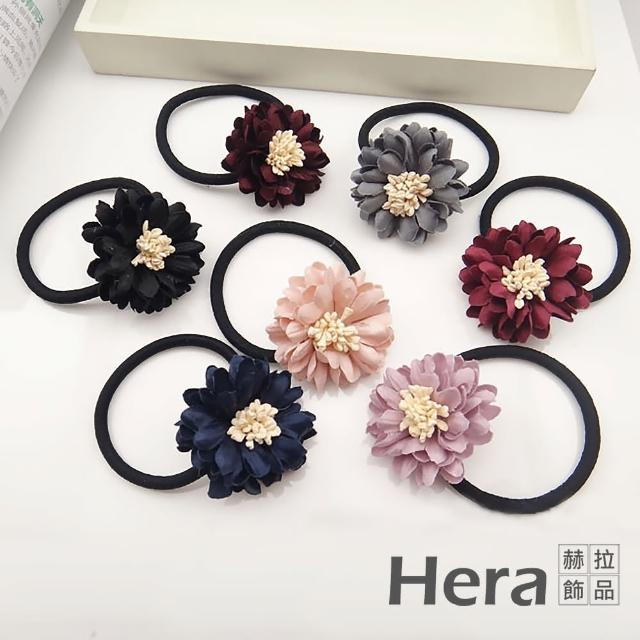 【HERA 赫拉】布藝山茶花朵韓版仿真髮圈六色(山茶花 韓版 髮圈)